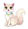 Cute cartoon pretty white girl cat vector image
