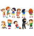 Kids at different crime scenes vector image
