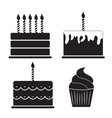 Birthday Cake Silhouette Set vector image