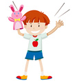 Little boy playing rabbit puppet vector image