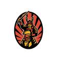 Samurai Warrior Riding Horse Katana vector image vector image