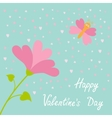 Love card Heart flower Flying butterfly vector image