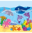 Cute Cartoon Marine Inhabitants vector image