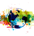 digital globe banner with art background design vector image