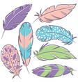 feathers doodle set vector image