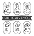 set of hand drawn gift shop labels in vector image