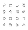 Set of Outline stroke Kitchenware icon vector image