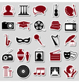 culture and art theme simple stickers icons set vector image