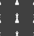 Chess Queen sign Seamless pattern on a gray vector image