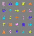 Map sign color icons on gray background vector image