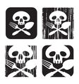 human skull and cutlery vector image