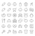 baby shower thin line icon set with baby avatar vector image