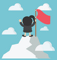 business woman in mountains leader on the top vector image