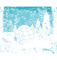 christmas igloo at the evening - Abstract winter vector image