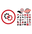 Gears Flat Icon with Bonus vector image