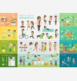 healthy lifestyle infographic set with charts and vector image