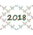 inscription 2018 consisting of multicolored vector image