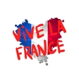 Vive la France hand painted national flag vector image