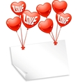 Background with balloons in the shape of heart and vector image vector image