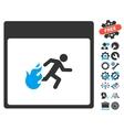 Fire Evacuation Man Calendar Page Icon With vector image