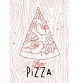 Poster love pizza slice vector image vector image