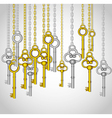 old keys hanging from gold and silver link chain vector image