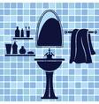 Blue bathroom interior vector image