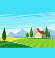 farmland rural natural landscape with mountains vector image