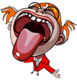 funny cartoon girl with mouth wide open vector image