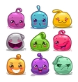 Funny cute cartoon colorful jelly characters vector image