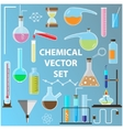 Set of laboratory flasks Chemistry objects in vector image