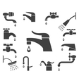 Set of water tap or faucet icons vector image