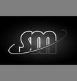 Sm s m letter alphabet logo black white icon vector image