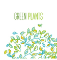 Green leaves design element in hand drawn relaxed vector image vector image