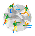 modern pentathlon with abstract patterns vector image vector image