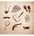 Detective sketch icons set vector image