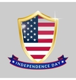 Independence Day golden shield and ribbon with the vector image