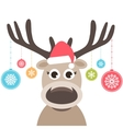 card with cute deer and christmas balls vector image