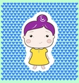 Cartoon baby girl violet hair yellow dress vector image
