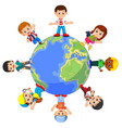 children standing on globe vector image