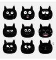 Cute black cat head set Funny cartoon characters vector image