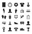 soccer black silhouette set vector image