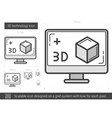 Three d technology line icon vector image