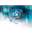 blue background with computer cloud vector image