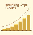 increasing graph of golden coin stack vector image