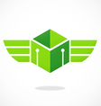 abstract cube wing box logo vector image