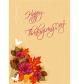 happy thanksgiving day with flowers vector image