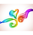 abstract color wave and heart vector image