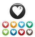 broken heart icons set simple vector image