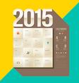 Calendar 2015 origami paper square design vector image
